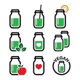 Zielony potrząśnięcie, zielone smoothie słoju ikony ustawiać Obrazy Royalty Free