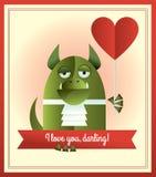 Zielony potwór kocham ciebie Zdjęcie Stock