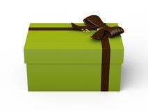 Zielony prezenta pudełko z brown tasiemkowym łękiem ilustracja wektor