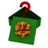 Zielony prezenta pudełko z niespodzianką na biel Zdjęcia Royalty Free
