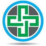 Zielony przecinający logo na bielu ilustracja wektor