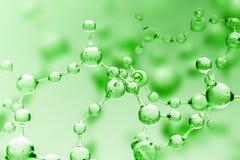 Zielony przejrzysty molekuła model nad zielenią ilustracja wektor