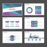 Zielony purpurowy Błękitny infographic element i ikony prezentaci szablonów płaski projekt ustawiamy dla broszurki ulotki ulotki  Obrazy Royalty Free
