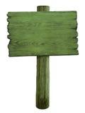 Zielony pusty drewniany drogowy znak odizolowywający na bielu Zdjęcie Royalty Free