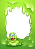 Zielony rabatowy projekt z strasznym zielonym potworem Obraz Stock
