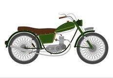 Zielony rocznika motocykl. Zdjęcie Stock