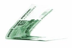 Zielony rosyjskiego rubla dochód składał odosobnionego na białym tle Obraz Stock