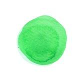 Zielony round akwareli muśnięcia uderzenie odizolowywający na bielu Watercolour plami teksturę sporządzić tła ręka szorstki obraz stock