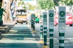 Zielony roweru pasa ruchu znak przy Bangkok Zdjęcia Royalty Free