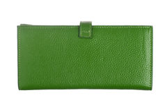 Zielony rzemienny portfel Fotografia Royalty Free