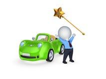 Zielony samochód i magii różdżka. Obraz Stock