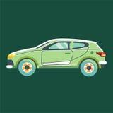 Zielony samochód odizolowywający na zielonym tle royalty ilustracja