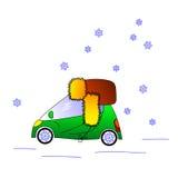 Zielony samochód w kapeluszu, zimy ilustracja Obraz Royalty Free