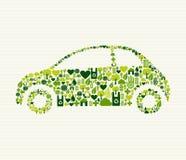 Zielony samochód z ikonami Fotografia Stock