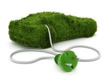 Zielony samochód zakrywający z trawy teksturą łączył elektryczna prymka ilustracji