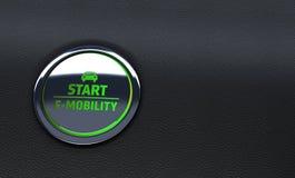 Zielony samochodowy guzik Pojęcie ruchliwość świadczenia 3 d obraz royalty free