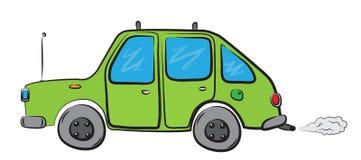 Zielony samochodowy jeżdżenie naprzód robi mnóstwo dymowi Obrazy Royalty Free
