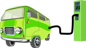 Zielony samochodowy pojęcie, elektrycznego samochodu ładuje stacja royalty ilustracja
