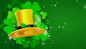 Zielony St Patrick ` s dnia tło z kapeluszem i koniczyną ilustracji
