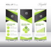 Zielony Stacza się Up sztandar informaci i szablonu grafika, stojaka projekt, ve Zdjęcia Royalty Free