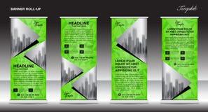 Zielony Stacza się up sztandaru szablon, sztandaru projekt, reklama Zdjęcie Stock