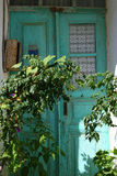 Zielony stary drzwi w Bozcaada indyk Zdjęcie Royalty Free