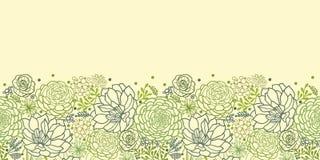 Zielony sukulent zasadza horyzontalnego bezszwowego wzór ilustracji