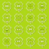 Zielony szczęsliwy irlandzki koniczynowy majcher ustawiający śliczne szczęśliwe smiley emocje dla stPatricks dnia, wektorowa ilus ilustracja wektor
