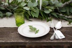 Zielony szkło, bielu talerz Fotografia Royalty Free