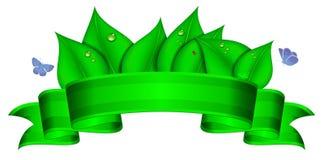 Zielony sztandar z kopii przestrzenią Obrazy Stock
