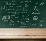 Zielony tło blackboard, chalkboard i teksta matematyki bezpłatnej przestrzeni biurko, fotografia royalty free