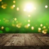 Zielony tło z bokeh i pustym stołem Zdjęcie Stock