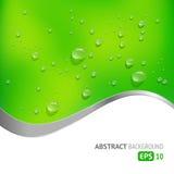 Zielony tło z kroplami Fotografia Stock