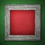 Zielony tło z pasiastym wzorem i drewnianą ramą fotografia stock