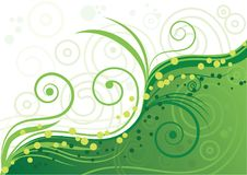 Zielony tło z spiralami i Obrazy Royalty Free