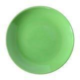 Zielony talerz odizolowywający na bielu Obraz Royalty Free