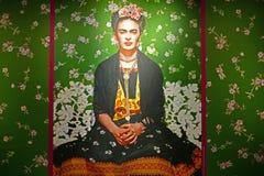 Zielony tapetowy wizerunek w Frida Kahlo wystawie obraz stock