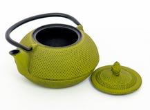 Zielony teapot odizolowywający na białym background/czajniku z otwartym Zdjęcie Royalty Free