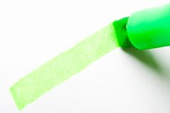 zielony textmarker piśmie zbliżenia Zdjęcia Royalty Free