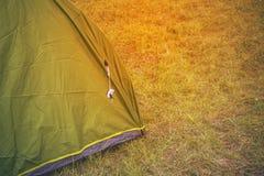 Zielony turystyczny namiot wśród trawy, na obszarze trawiastym, lasu obóz obraz royalty free