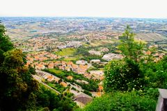 Zielony Tuscany w Włochy Widok od above natura Zdjęcie Royalty Free