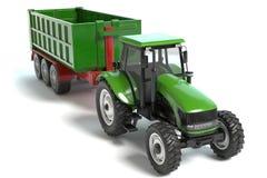Zielony Uprawia ziemię ciągnik i przyczepa Obrazy Royalty Free