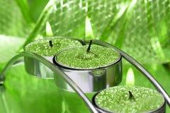 zielony uroczyście wstążkę candle Zdjęcia Stock