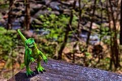 Zielony Velociraptor dinosaur z drewnami w tle zdjęcia royalty free