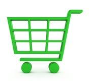 Zielony wózek na zakupy Zdjęcia Royalty Free