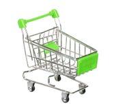 Zielony wózek na zakupy Odizolowywający Na bielu Fotografia Stock