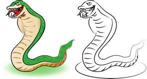 Zielony wąż i kontur - kreskówki ilustracja Ilustracji