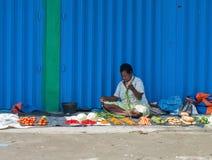 Zielony warzywo wystawiający dla sprzedaży przy lokalnym rynkiem w Wamena Fotografia Stock