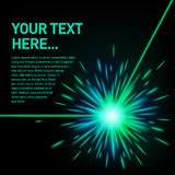 Zielony wiązka laserowa wybuch fotografia stock
