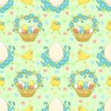 Zielony Wielkanocny tło z kurczakami Zdjęcia Stock